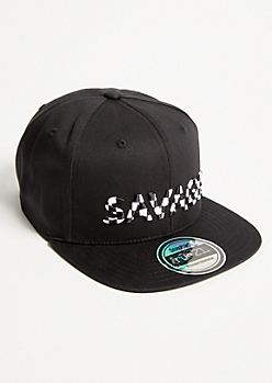 Black Checkered Print Savage Embroidered Snapback Hat
