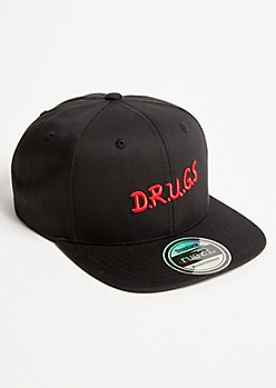 Black Embroidered Snapback Hat