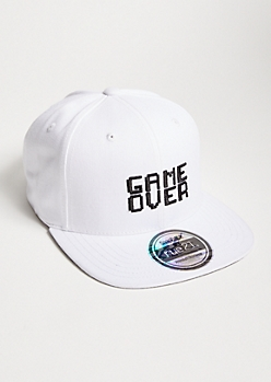 White Game Over Embroidered Snapback Hat