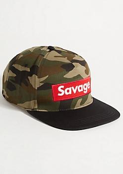 Camo Print Savage Snapback Hat