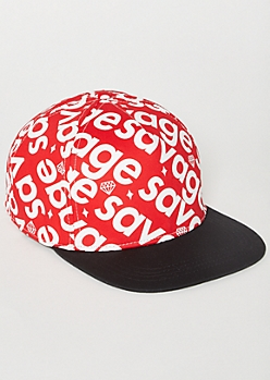 Red Diamond Savage Print Snapback Hat