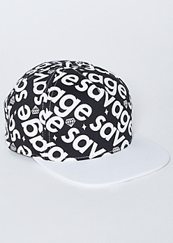 White Diamond Savage Print Snapback Hat