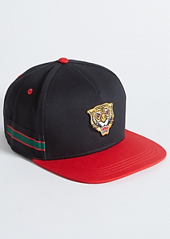 Black Tiger Varsity Striped Snapback Hat