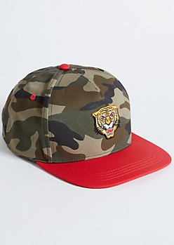 Camo Print Tiger Patch Snapback Hat
