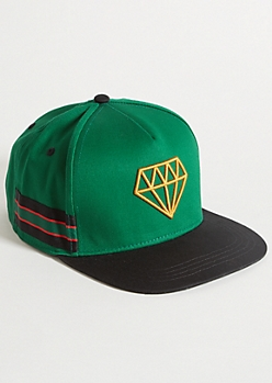 Green Diamond Varsity Striped Snapback Hat