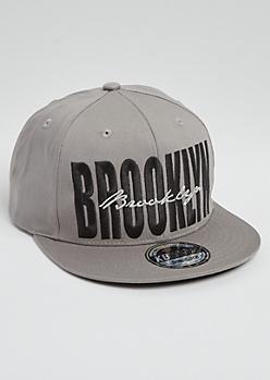 Gray Cursive Brooklyn Snapback Hat