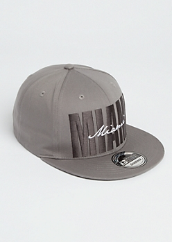 Gray Miami Stitched Snapback