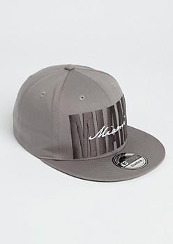 Gray Cursive Miami Snapback Hat