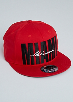 Red Cursive Miami Snapback Hat