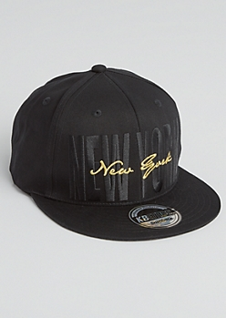 New York Metallic Stitched Snapback