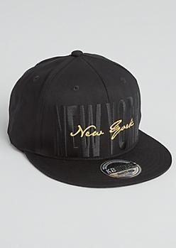 Black Cursive New York Snapback Hat