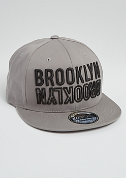 Gray Brooklyn Mirrored Embroidered Snapback Hat