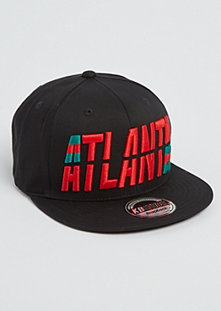Black Atlanta Split Snapback Hat