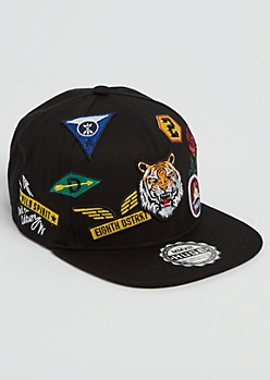 Black Mixed Patch Snapback Hat