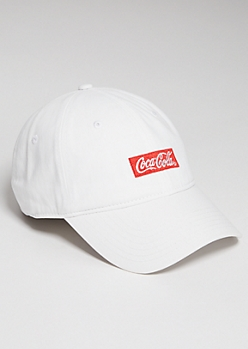 White Coca Cola Embroidered Twill Dad Hat