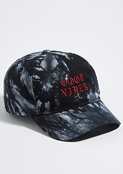 Black Tie Dye Good Vibes Dad Hat