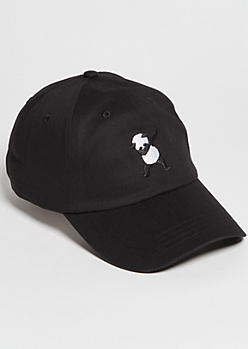 Black Dab Panda Embroidered Twill Dad Hat