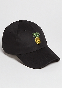 Black Pineapple Skull Embroidered Twill Dad Hat