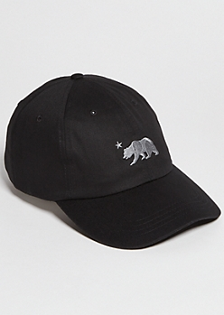 Black California Bear Embroidered Twill Dad Hat