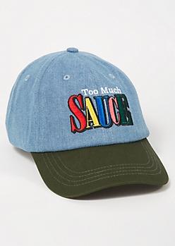 Denim Colorblock Too Much Sauce Dad Hat