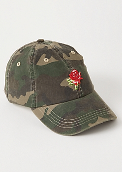 Camo Print Rose Embroidered Dad Hat