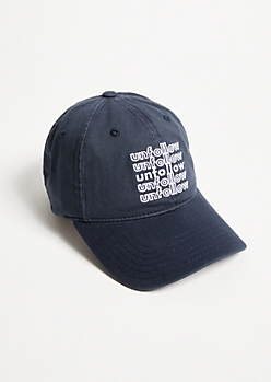 Navy Unfollow Repeat Dad Hat