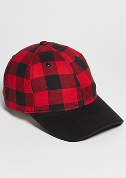 Red Plaid Print Dad Hat