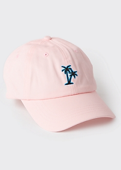Pink Palm Tree Embroidered Dad Hat