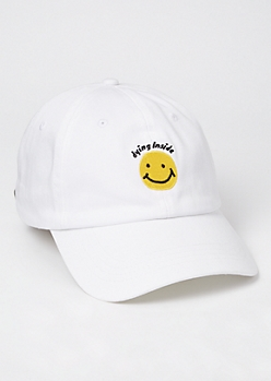 White Dying Smiley Embroidered Dad Hat
