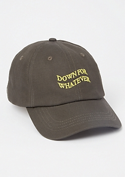 Gray Down For Whatever Embroidered Dad Hat