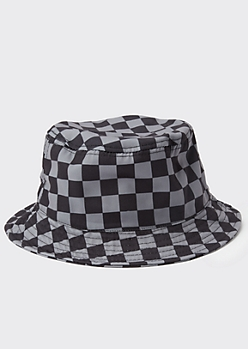 Black Tonal Checkered Print Bucket Hat
