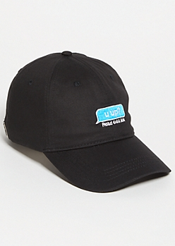 Black Late Night Text Twill Dad Hat