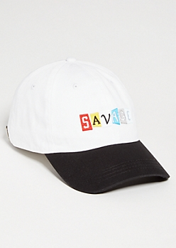 8568052e3fb3a White Colorblock Savage Block Twill Dad Hat