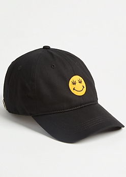 Black Weed Print Smiley Twill Dad Hat