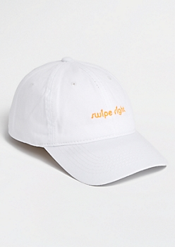 White Swipe Right Dad Hat
