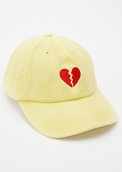 Yellow Broken Heart Embroidered Dad Hat