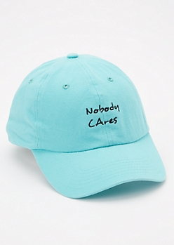 Teal Nobody Cares Embroidered Dad hat