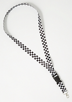 Checkered Print Buckle Lanyard