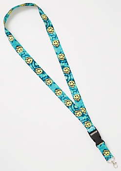 Teal Tie Dye Smiley Lanyard