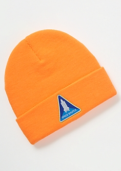 Neon Orange Space Shuttle Embroidered Beanie