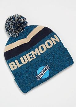 Blue Striped Blue Moon Pom Pom Beanie
