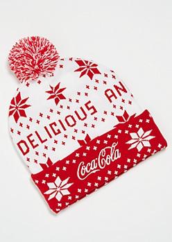 Red Fair Isle Coca Cola Pom Pom Beanie