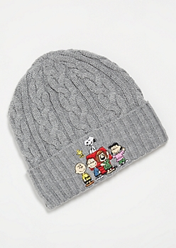Gray Peanuts Squad Cable Knit Beanie