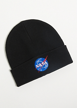 Black Embroidered NASA Patch Beanie
