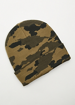 Olive Camo Print Ribbed Knit Beanie