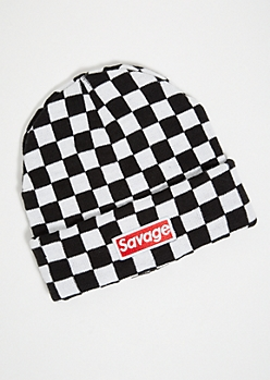 Checkerboard Pattern Savage Patch Beanie