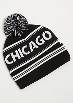 Black Striped Chicago Pom Pom Beanie