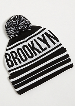 Black Striped Brooklyn Pom Pom Beanie