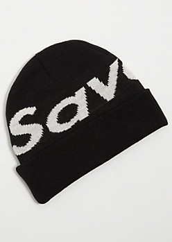 Black Ribbed Knit Savage Cuffed Beanie