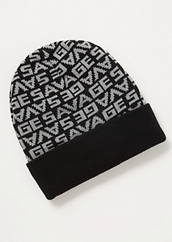 Black Print Savage Beanie